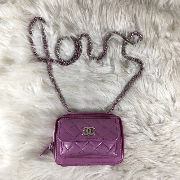 8325590e52ed01 CHANEL Bags   2015 Quilted Camera Bag Patent Purple Nwot   Poshmark